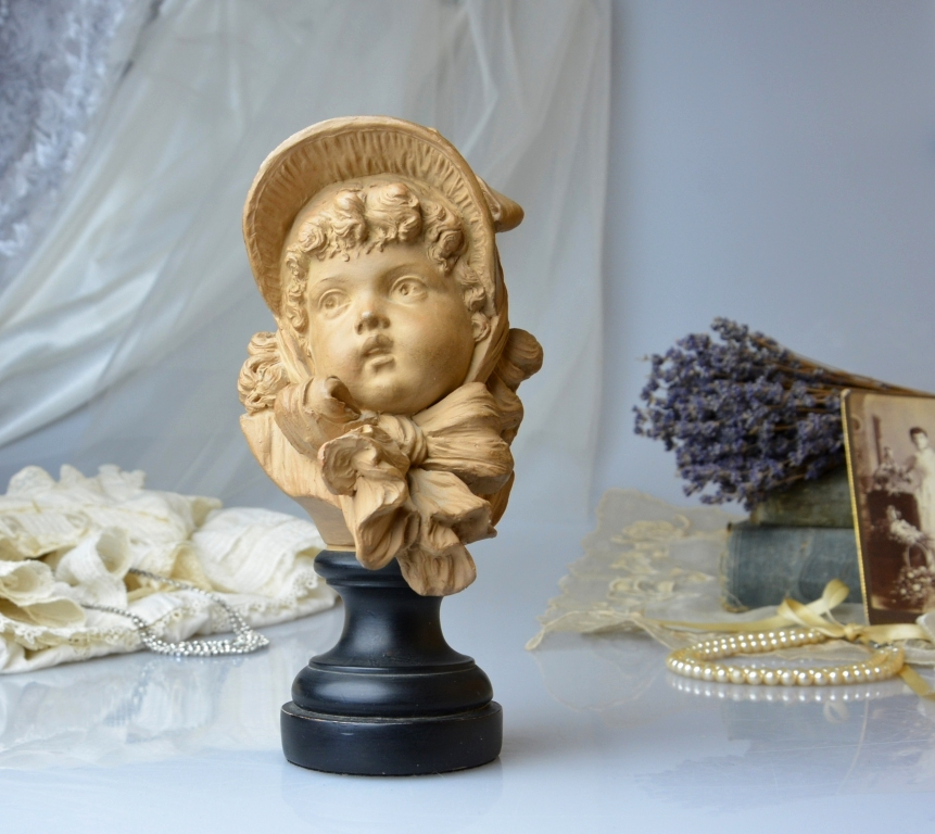 Auction ID 204920 - Emile Guillemin Signed French Victorian Girl Bust Quai Jemmapes 6 Terracotta Vintage Statue French Girl Figurine Fine Art French Home Decor